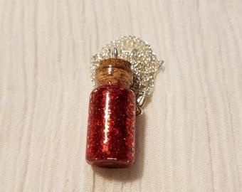 January Birthstone Bottle Charm Necklace (Garnet)