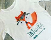 Two Wild Fox Birthday Shirt