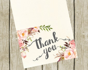 Thank You Cards Printable. Floral Thank You Cards 3.5x5. Instant Download. Thank You Cards Wedding. Bridal Shower Thank you Cards