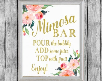 image relating to Mimosa Bar Sign Printable Free titled Mimosa bar printable Etsy