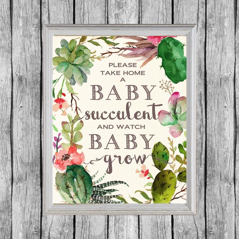 Succulent Baby Shower Favors Sign 8x10 Digital File Instant image 0