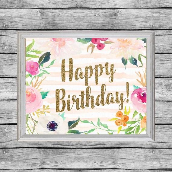 Printable Happy Birthday Sign 8x10 Or 16x20 Birthday Poster Etsy