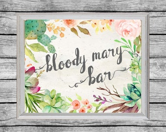 Bloody Mary Bar Sign. Bloody Mary Bar Printable.  Bridal Shower Sign. Printable Bridal Shower Decor. Instant Download. Bridal Brunch