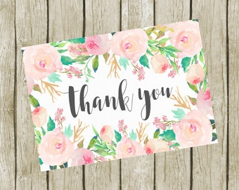 Thank You Cards Printable. Floral Thank You Cards 3.5x5. Instant Download. Thank You Cards Shower. Baby Shower Thank you Cards