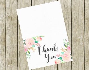 Thank You Cards Printable. Pink Floral Thank You Cards 3.5x5. Instant Download. Printable Thank You Cards. Baby Shower Thank you Cards