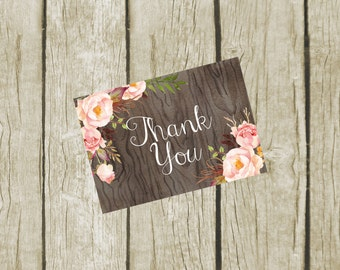 Thank You Cards Printable. Floral Thank You Cards 3.5x5. Instant Download. Thank You Cards Bridal Shower. Rustic Wedding Thank you Cards
