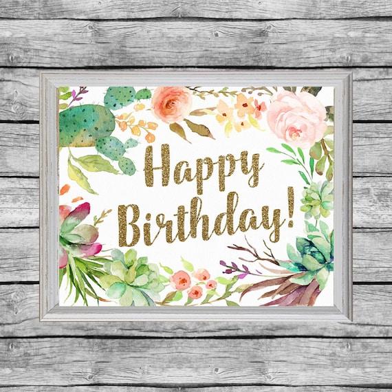 Happy Birthday Poster Printable Sign 16x20 Or 8x10 Birthday Etsy