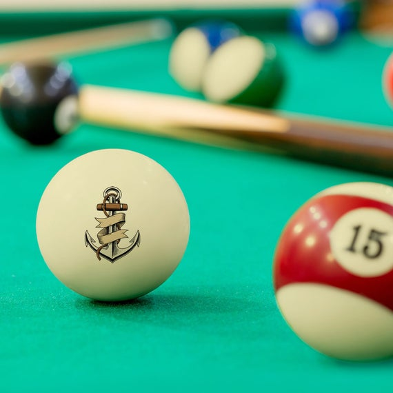 Cool Anchor Custom Pool And Billiard Cue Ball Great Gift For Birthday Christmas