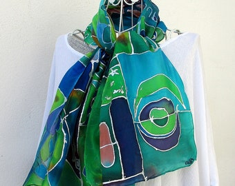 """Silk scarf painted by hand, hand painted silk scarf, silk from France, mothers """"Blue notes 2"""""""