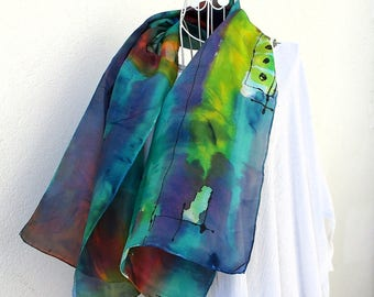 """Silk scarf painted by hand, hand painted silk scarf from France, contemporary style """"East wind"""""""