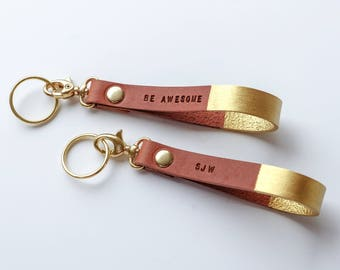 Gold Custom Leather Keychain - Personalized Gold  Gift - Brown Gold  Key Fob Lanyard - Monogram Leather Keychain, Be Awesome Mantra