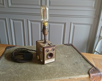 Upcycled, vintage box brownie camera. Unique lamp. Retro 1940s.