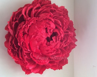 Crepe paper flowers etsy large crepe paper flowersgiant paper flowerswedding decorationhome decorwall decorlarge paper flowerslarge red peonybackdrop flowers mightylinksfo
