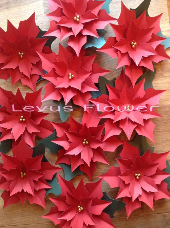 Large Paper Flowers Giant Paper Flowers Paper Poinsettia Etsy