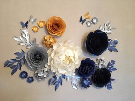 Nursery flowers decorationset paper flowerslarge paper etsy image 0 mightylinksfo