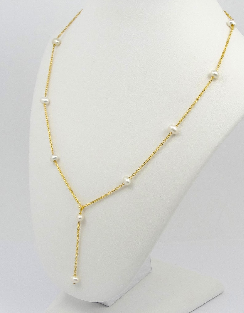 collier argent avec perles Perlen silberne Kette Perle collana argento Dainty Y lariat  Silver necklace with fresh water pearls