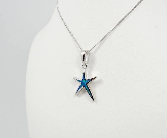 ciondolo stella marina Hamdmade Greek Jewelry Sterling Silver Blue Opal Starfish Pendant \u00e9toile de mer pendentif Seestern Anh\u00e4nger