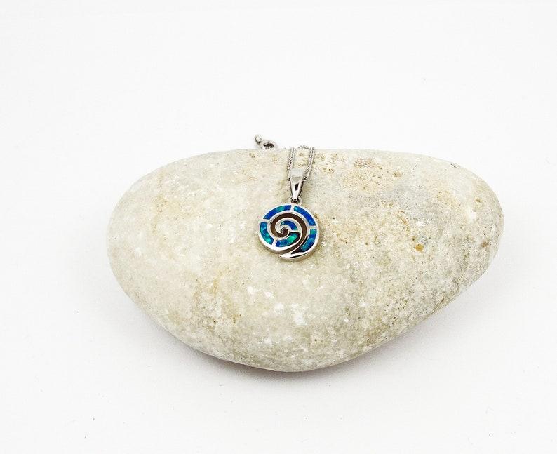 Greek Jewellery from Greece griechischen schmuck bijoux grec opal Sterling Silver Charm collana opale Greco Blue Opal Spiral Pendant