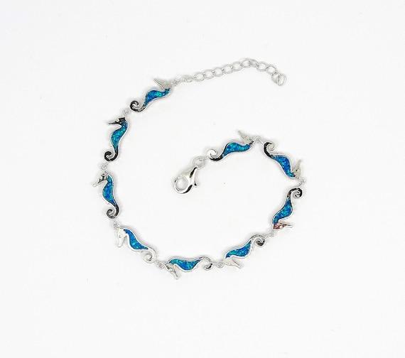 Blue opal seahorse Hippocampu bracelet in Silver Greek  jewelry griechischer Schmuck Seepferdchen Armband Hippocampe bracelet  Bijoux grec