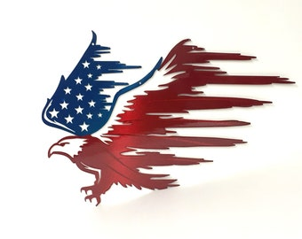 93dde25eaf8b Tattered Eagle Wings Patriotic Metal Art