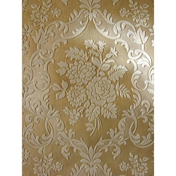 Papier peint Vintage - prix par le rouleau - années - 70 rétro papier peint - années revêtement mural en relief des années 70 avec des roses   cas 145 8cff2a