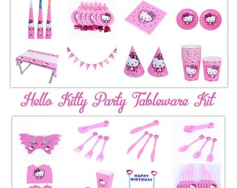 29d35c51c Hello Kitty Deluxe Birthday Party Supplies Pack,Pink Hello Kitty Tableware  Kit for 10 Persons