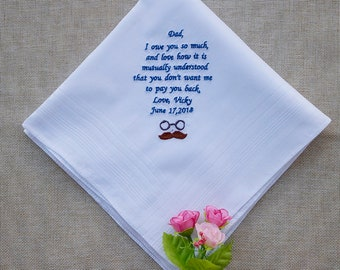 Father's Day gift personalized embroidered handkerchief gift with handmade envelope