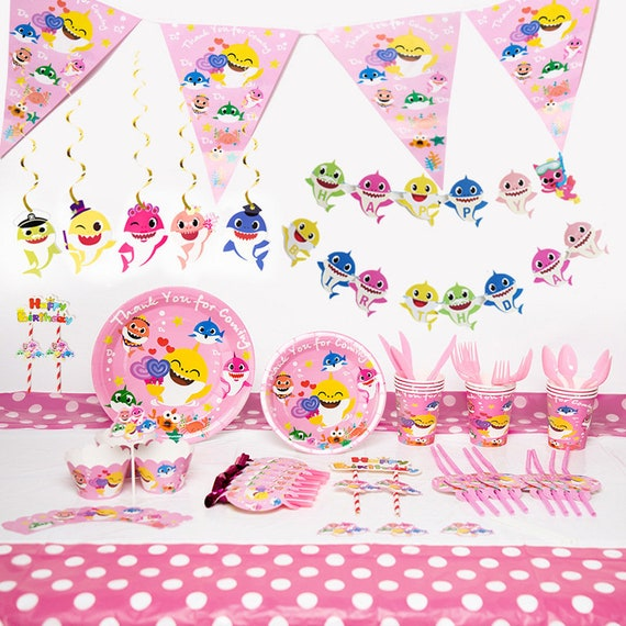 Pink Baby Shark Birthday Party Supplies Pack Pink Shark Tableware Kit For 10 Persons Baby Shark Party Theme