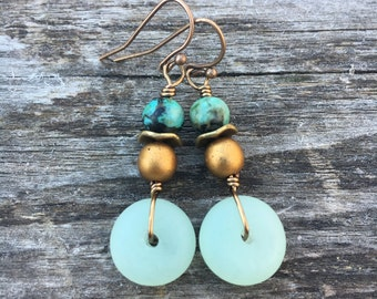 Boho Earrings, Sea Glass Earrings, Mint Green Earrings, African Turquoise Earrings, Dangle Earrings, Unique Earrings