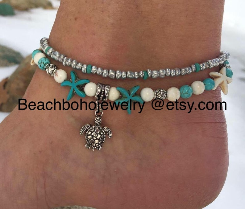 Turtle Anklet Beach Anklets for women Starfish Anklet image 0