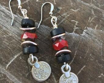 Boho Earrings, Hippie Earrings, Black and Red Earrings, Dangle Earrings