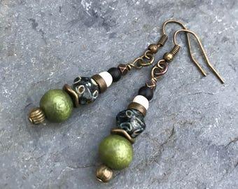 Boho Earrings, Hippie Earrings, Dangle Earrings, Earrings, Earth Tone Earrings, Gypsy Earrings, Unique Earrings