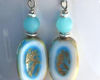 Boho Earrings, Dangle Earrings, Blue Earrings, Unique Earrings