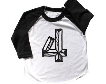 Fourth Birthday Shirt, Number four Shirt,  fourth Birthday baseball raglan, 4 shirt, 4th Birthday Outfit, third Birthday Shirt Girl boy