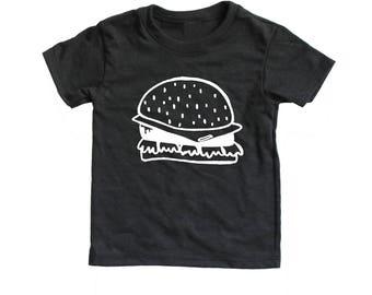 Cheeseburger Infant Toddler T Shirt, Baby kid graphic tee,  hamburger tee, kawaii food shirt, junk food shirt, modern hipster kids shirt
