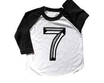 Seventh Birthday Shirt, Number seven Shirt,  7th Birthday baseball raglan, 7 shirt, 7th Birthday Outfit, fifth Birthday Shirt Girl boy
