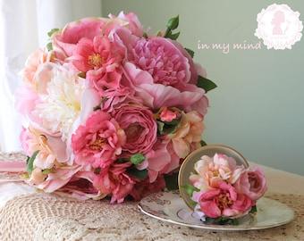 Bridal bouquet , Wedding bouquet , Silk bouquet , Garden bouquet , Elegant bouquet ,  Peony bouquet