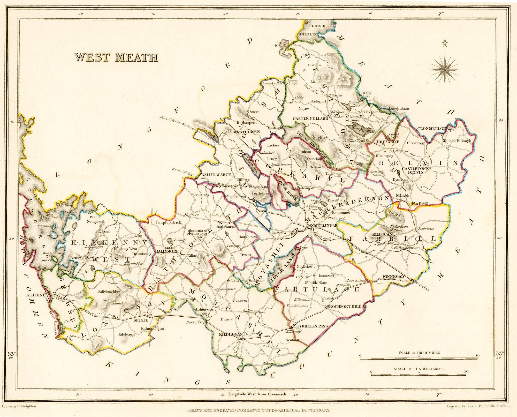 County West Meath Ireland 1837 Antique Irish Map Free Etsy