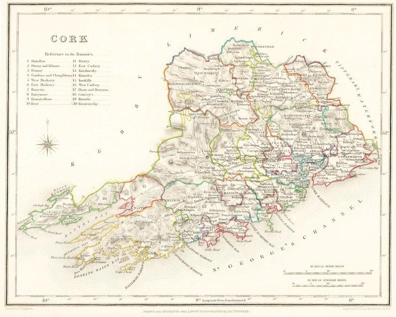 A4 Map Of Ireland.County Cork Ireland 1837 Antique Irish Map Free Etsy