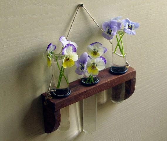 Hanging Test Tube Vase Oak Etsy