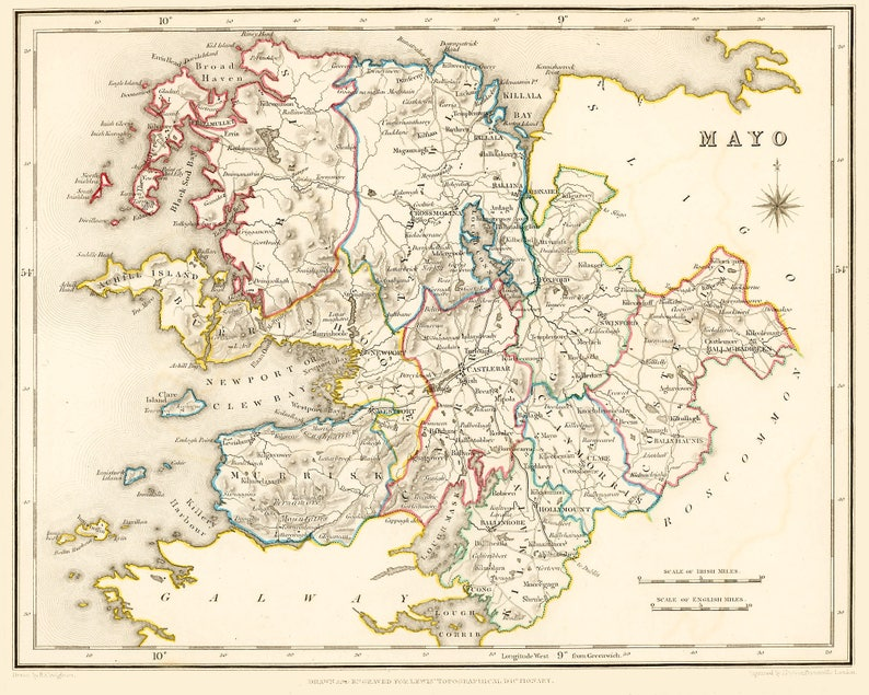 Map Of Ireland Mayo.County Mayo Ireland 1837 Antique Irish Map 2 Sizes Free Worldwide Shipping 10 Off Multiple Orders