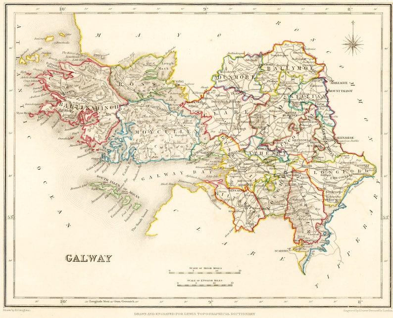 A4 Map Of Ireland.County Galway Ireland 1837 Antique Irish Map 2 Sizes Etsy