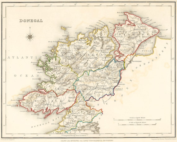 Donegal Map Of Ireland.County Donegal Ireland 1837 Antique Irish Map Free Etsy