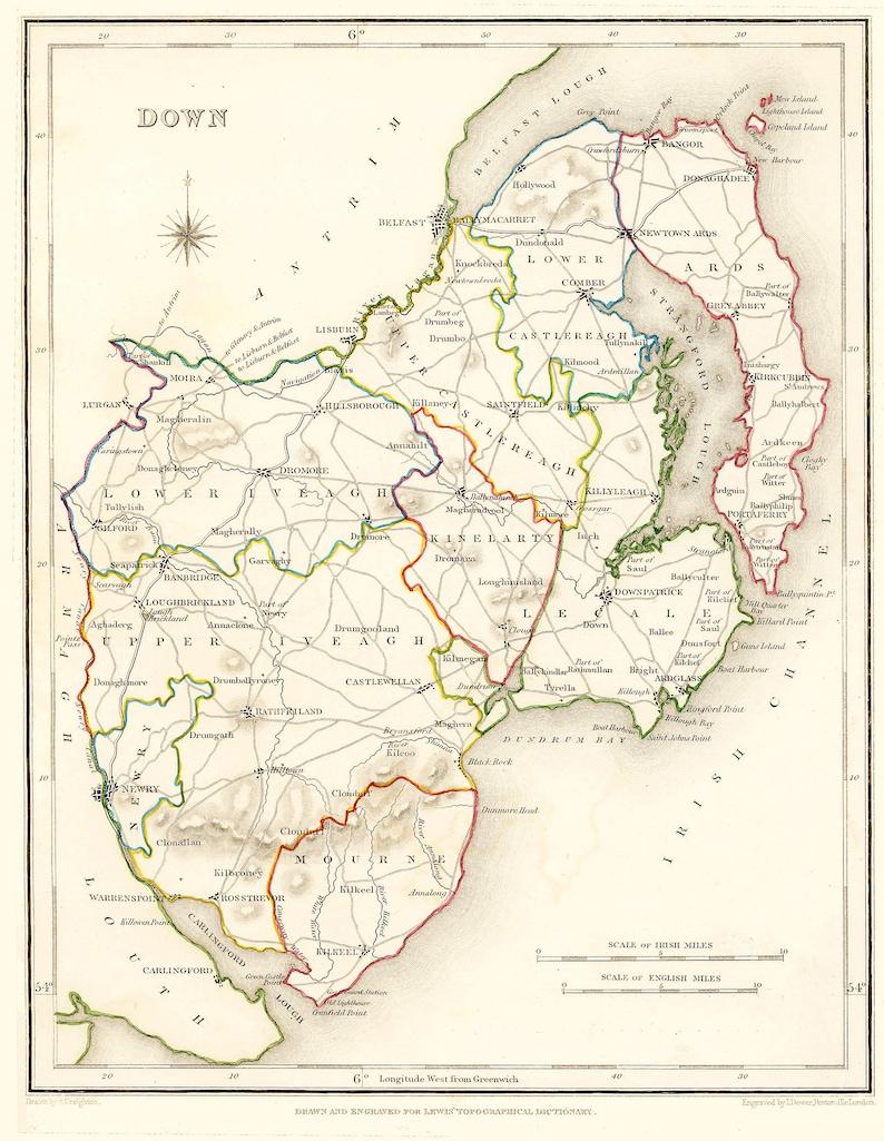 A4 Map Of Ireland.County Down Ireland 1837 Antique Irish Map Free Etsy