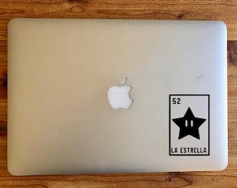 La estrella the star super mario bros inspired nintendo loteria sticker decal for macbook mac laptop
