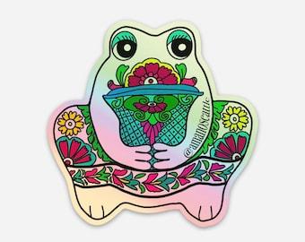 Holographic Talavera frog 3 inch sapo rana vinyl sticker die cut