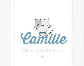 Poster nursery child or baby personalized with child's name little lady little gentleman cat