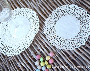 Set of 25 - wedding shower table decoration paper doily birthday baptism party, bachlorette party white lace