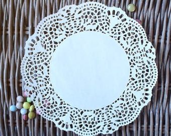 Set of 25 - wedding shower birthday table decoration paper doily baptism party, bachlorette party lace delicate fine