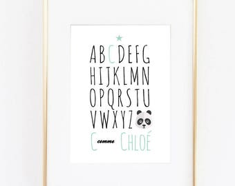 Poster decoration child's bedroom home poster personalized abbreon with child's first name panda theme
